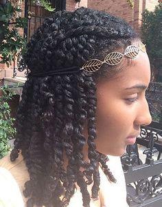 mini twists avec serre-tête - cheveux afros