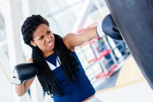 kickboxing workout sport boxe black woman boxing