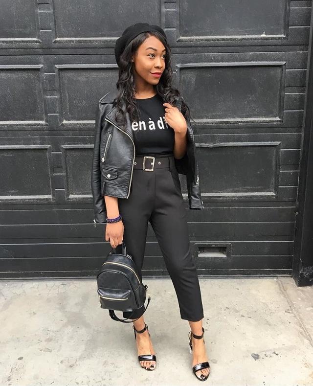 sac à dos, femme noire, total look