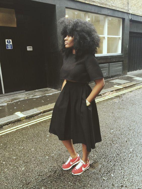 Black woman cortez nike femme noire sneakers baskets streetstyle