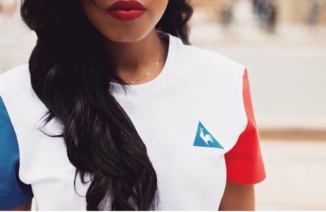 T-shirt blanc Le coq sportif, femme noire
