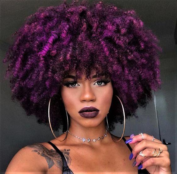 Couleur violet cheveux crepus
